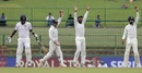 Wriddhiman Saha, Cheteshwar Pujara and KL Rahul appeal against Angelo Mathews, Sri Lanka v India, 3rd Test, 3rd day, Pallekele, August 14, 2017