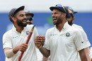 Shikhar Dhawan and Virat Kohli can't stop smiling after India's victory, Sri Lanka v India, 3rd Test, 3rd day, Pallekele, August 14, 2017
