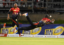Anderson Phillip dives backward to attempt a catch, Trinbago Knight Riders v St Kitts and Nevis Patriots, CPL 2017, Port of Spain, August 14, 2017