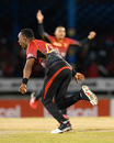 Dwayne Bravo wheels away in celebration after taking a catch, Trinbago Knight Riders v St Kitts and Nevis Patriots, CPL 2017, Port of Spain, August 14, 2017