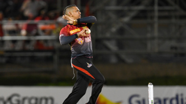 Sunil Narine in his bowling stride