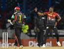 Dwayne Bravo breaks into a celebratory jig, Trinbago Knight Riders v St Kitts and Nevis Patriots, CPL 2017, Port of Spain, August 14, 2017
