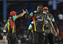 All sorts of celebrations: Hasan Ali and Carlos Brathwaite after a wicket, Trinbago Knight Riders v St Kitts and Nevis Patriots, CPL 2017, Port of Spain, August 14, 2017