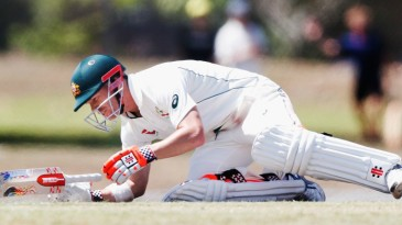 David Warner had to retire hurt after being struck by a bouncer in an intra-squad match