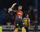 Denesh Ramdin celebrates his fifty, Trinbago Knight Riders v St Kitts and Nevis Patriots, CPL 2017, Port of Spain, August 14, 2017