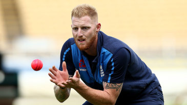 Ben Stokes keeps his eye on the pink ball