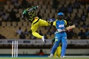 Rovman Powell takes flight after removing Kyle Mayers, St Lucia Stars v Jamaica Tallawahs, CPL 2017, Gros Islet, August 15, 2017