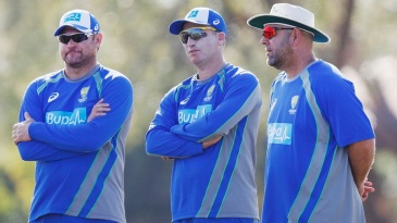 Ryan Harris, Brad Haddin and Darren Lehmann oversee the intra-squad match