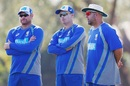 Ryan Harris, Brad Haddin and Darren Lehmann oversee the intra-squad match, Darwin, August 16, 2017