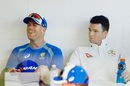 David Warner and Peter Handscomb cool off in the dressing room, Darwin, August 16, 2017