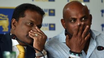 Thilanga Sumathipala and Sanath Jayasuriya at a press conference