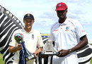 Joe Root and Jason Holder pose with the Investec series trophy and the Wisden Trophy, Edgbaston, August 16, 2017