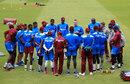 West Indies' head coach Stuart Law gives a team talk, Edgbaston, August 16, 2017