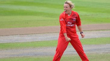 Danielle Hazell celebrates a wicket