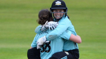 Rene Farrell gets a hug from Tammy Beaumont after sealing victory