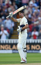 Alastair Cook acknowledges his hundred, England v West Indies, 1st Investec Test, Edgbaston, 1st day, August 17, 2017