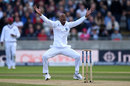 Roston Chase implores for an lbw against Alastair Cook - which he won on review, England v West Indies, 1st Investec Test, Edgbaston, 2nd day, August 18, 2017