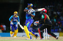 Kieron Pollard plays a pull shot, St Kitts and Nevis Patriots v Barbados Tridents, CPL 2017, Basseterre, August 18, 2017