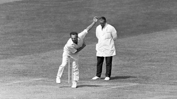 Don Shepherd sends down a delivery for Glamorgan