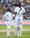 Little and large: Jermaine Blackwood has his bat inspected by Jason Holder, England v West Indies, 1st Investec Test, Edgbaston, 3rd day, August 19, 2017