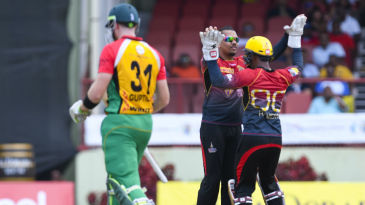 Sunil Narine cleaned up Martin Guptill with an offbreak