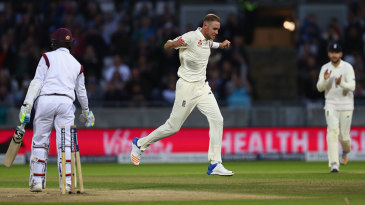 Stuart Broad bowled Shane Dowrich to move second on England's all-time list
