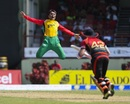 Rashid Khan tried his best to hold on to a catch from Brendon McCullum, Guyana Amazon Warriors v Trinbago Knight Riders, CPL 2017, Providence, August 19, 2017
