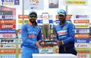 Virat Kohli and Upul Tharanga pose with the series trophy, Sri Lanka v India, 1st ODI, Dambulla, August 20, 2017