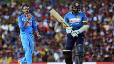 Axar Patel celebrates one of his three wickets