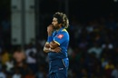 Lasith Malinga reacts to a boundary, Sri Lanka v India, 1st ODI, Dambulla, August 20, 2017