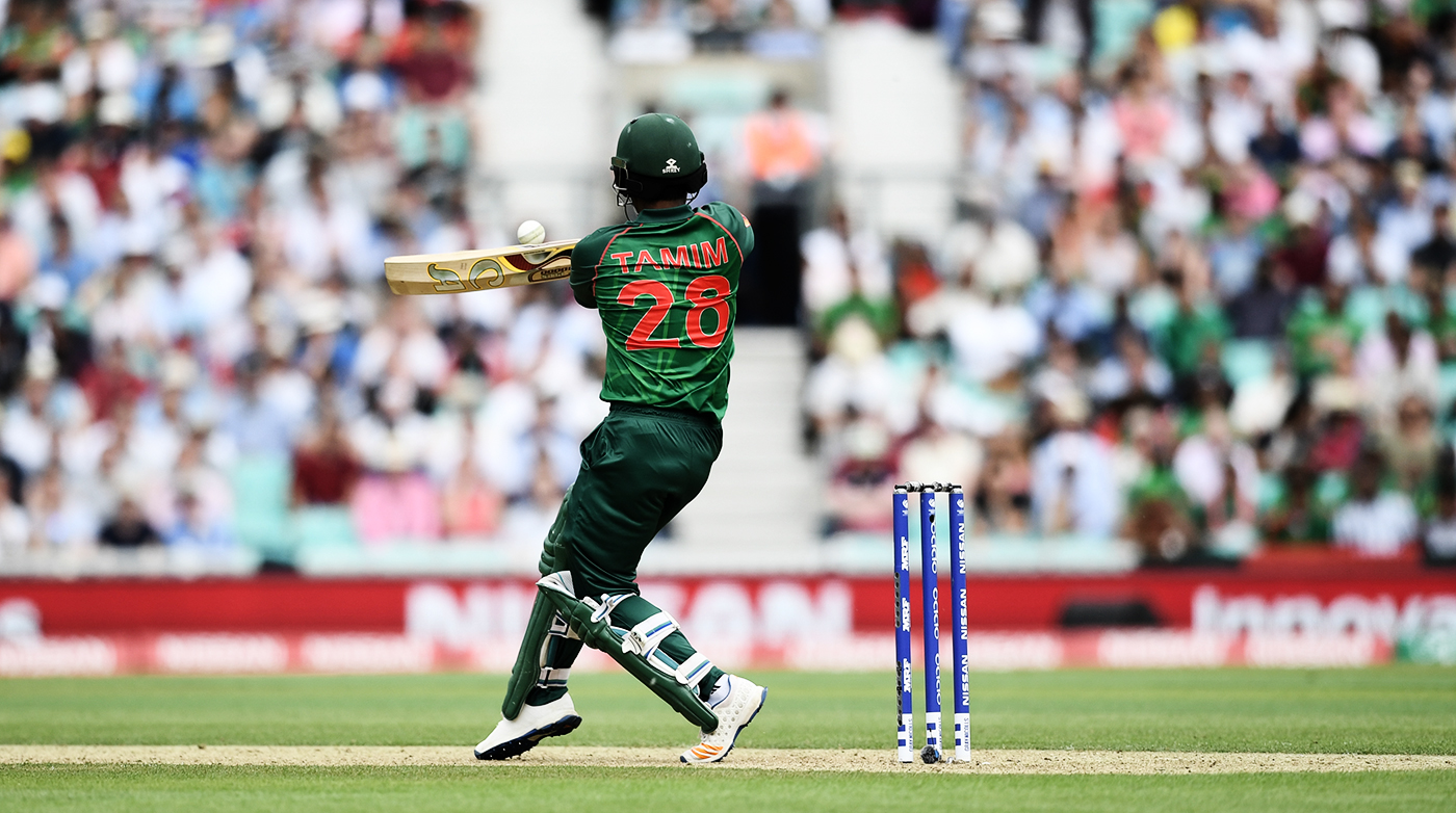 Tamim Iqbal connects with the ball