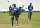 Mitchell Swepson completes his bowling action at training, Dhaka, August 20, 2017