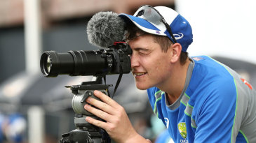 Matt Renshaw plays with the cameras at training