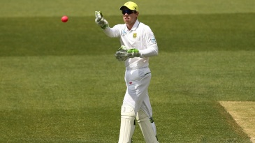 Harry Nielsen standing in as wicketkeeper for South Africa