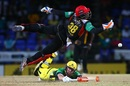 Devon Thomas does his best to get behind a throw, St Kitts & Nevis Patriots v Jamaica Tallawahs, CPL 2017, Basseterre, August 21, 2017