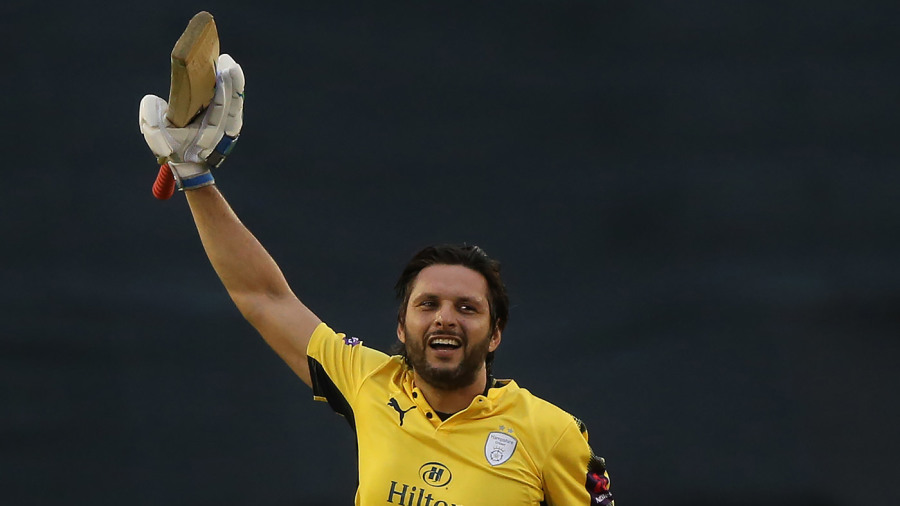 Afridi's maiden T20 hundred leads Hampshire rout of Derbyshire