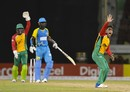 Rashid Khan finished with 2 for 19, including the wicket of Darren Sammy, Guyana Amazon Warriors v St Lucia Stars, CPL 2017, Providence, August 22, 2017