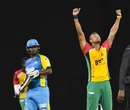 Rayad Emrit took 2 for 26, including the wicket of Darren Sammy, Guyana Amazon Warriors v St Lucia Stars, CPL 2017, Providence, August 22, 2017
