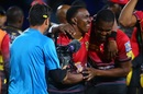 The captain Dwayne Bravo celebrates with his brother Darren Bravo, St Kitts and Nevis Patriots v Trinbago Knight Riders, CPL 2017, Basseterre, August 23, 2017