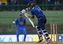 Danushka Gunathilaka drops one into the off side, Sri Lanka v India, 2nd ODI, Pallekele, August 24, 2017