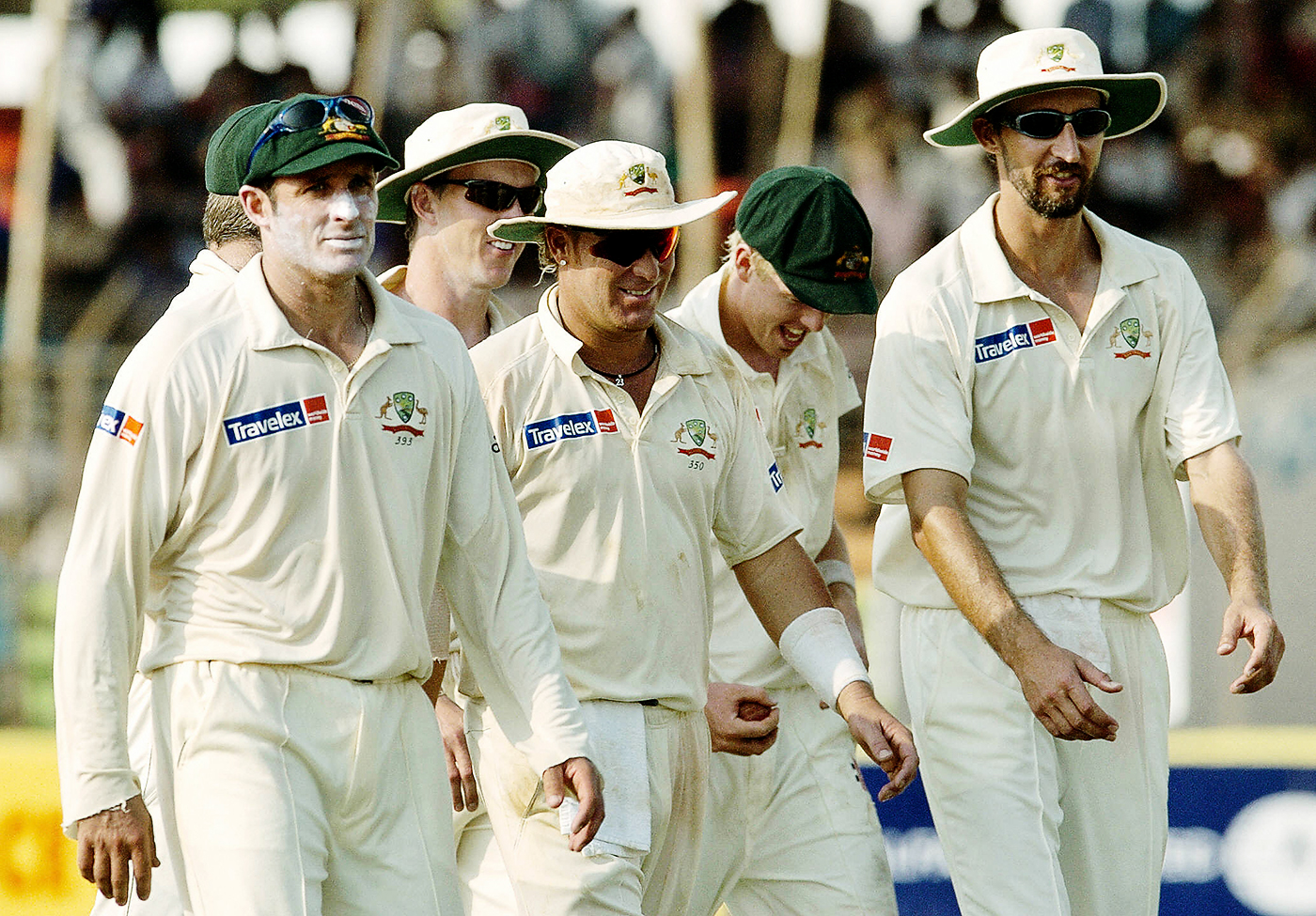 Cullen gets to take the ball as he and his team-mates walk back after dismissing Bangladesh for 197 in the first innings