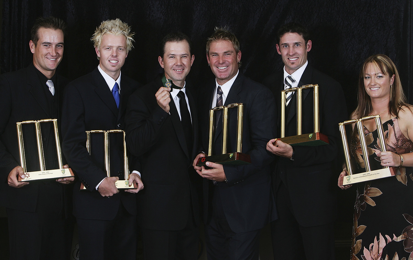 Cullen (second from left) with the game's legends to his right - Ricky Ponting, Shane Warne, Michael Hussey and Karen Rolton - at the 2006 Allan Border Medal dinner where he won the Bradman Young Cricketer of the Year