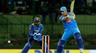 MS Dhoni plays one off the backfoot