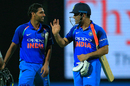 Bhuvneshwar Kumar and MS Dhoni walk back after sealing India's win with their eighth-wicket partnership, Sri Lanka v India, 2nd ODI, Pallekele, August 24, 2017