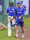 Usman Khawaja and Glenn Maxwell chat at training, Dhaka, August 25, 2017