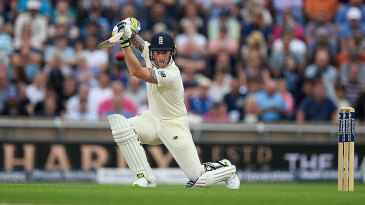 Ben Stokes drives through the covers during his half-century
