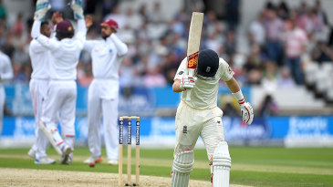 Joe Root shows his frustration after falling for 58