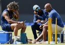 Lasith Malinga, Upul Tharanga and Sanath Jayasuriya at a training session, Pallekele, August 26, 2017