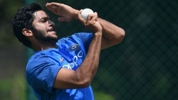 Shardul Thakur bowls in the nets