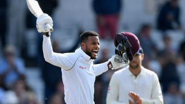 Shai Hope brought up his maiden Test hundred after tea